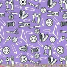 Polycotton - Sewing Icons On Lilac  - Per Metre