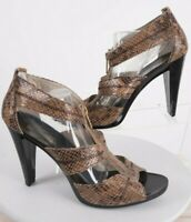 Michael Kors Berkley Womens Reptile Sandals Shoes 10 Heels T-Strap Zipper Brown
