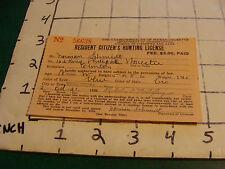 vintage original paper: 1936 Massachusetts Hunting License