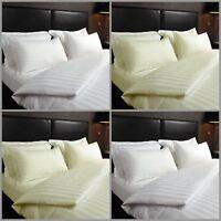 T300 Satin Stripe Quilt Duvet Cover with Pillowcase Set Single Double King