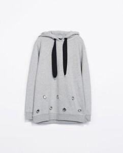 ZARA W&B  Hoodie with Metal Circle Appliques Sweatshirt Medium 0909/033