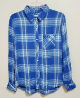 Rails Blue Plaid Flannel Button Front Shirt Top Women's Size Small Long Sleeve