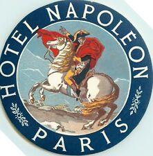 Hotel NAPOLEON / Napoleon on Horseback ~PARIS FRANCE~ Great Luggage Label, 1950