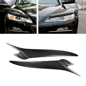 For 2004-2008 MAZDA RX 8 RX8 Headlight Lids Eyebrow Eyelids Cover Carbon Fiber