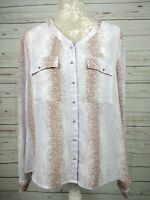 Laura Ashley Speckled Mottled Long Sleeve Blouse Top Shirt Size 16