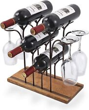New listing Tabletop Wood Wine Holder, Countertop Wine Rack, Hold 4 Wine Bottles and 4 Glass