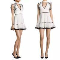 Alexis Lilly Ruffle Choker Dress, White S NEW $580