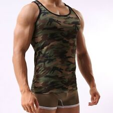 Men's Military Style Tight Fitness Clothing Camouflage Sportswear Training Vests