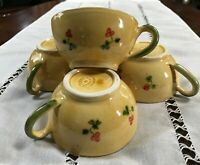 Terre Provence Floral Coffee Cups Hand Painted Set of 4