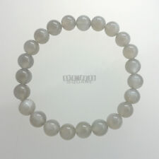 Natural Gray Moonstone Round Beads / Stretch Bracelet ap.8mm Silver Flash #19430