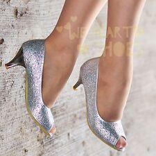 Ladies Diamante Sparkly Shoes Peep toe Party Low Kitten Heel Pumps size 30556