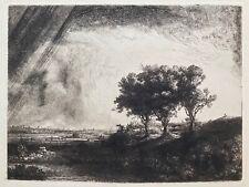 Rembrandt: Landschaft mit drei Bäumen -Orig. Faksimile Heliogravure Reichsdruck