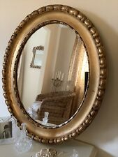 Victorian Gorgeous Gold Leaf Distressed  Large Wood Oval Frame Stunning