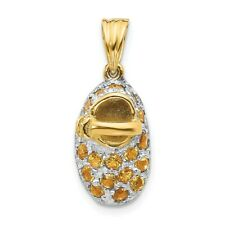 14K Two Tone Gold Polished Birthstone November Genuine Citrine Baby Shoe Charm