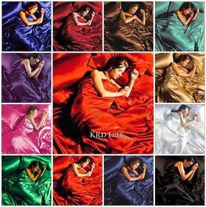 6Pcs SATIN BEDDING SET Silk Bedroom Duvet Cover + Fitted Sheet +4 Pillowcases UK