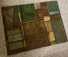 Vintage 70s Abstract Shapes Geometric Oil Painting Mid Century Modern Wall Art