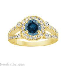 14K YELLOW GOLD 1.55 CARAT ENHANCED BLUE AND WHITE DIAMOND HALO ENGAGEMENT RING