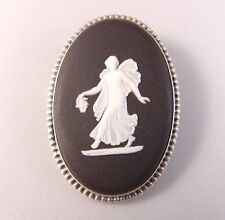 Vintage Solid Sterling Silver Black Wedgwood Brooch Pin Made in England 65 Oval