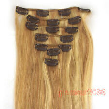 7PCS Indian Clip in Remy Real Human Hair Extensions Straight Black Brown Blonde