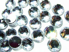 60 Crystal Clear Faceted Beads Acrylic Rhinestone/Gems 12 mm Flat Back Sew On