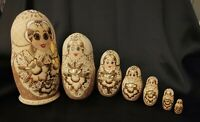 "Nesting Dolls1994 Hand Made Wood 7 pc Gold Leaf Signed Russian 8.5"" Matryoshka"