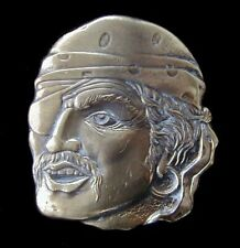 LARGE PIRATE HEAD BELT BUCKLE VINTAGE 1980 PEWTER WITH BRASS PLATE