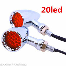 Red LED Chrome Housing Stop Brake/Running Turn Signal Tail Light For Motorcycle