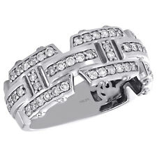 14K White Gold Round Diamond Mens Wedding Band Geometric Design Ring 0.93 CT.