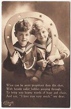* RAPHAEL TUCK - Lucky Sailor Carbonette #4854 - Propitious Horseshoe c1910s era