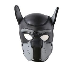 Cosplay Hundekopfbedeckung BDSMMaske Fetisch SMDogplay Petplay Kopfmaske Grau