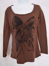BISOU BISOU Brown Feather Print, Faceted Jewels Blouse Shirt Size M