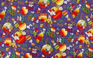 "Peanuts Trick Or Boo Halloween Purple Bulk Fabric CP11690 44"" x 80"" - Over 2 YDS"