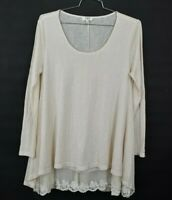 Umgee Womens Blush Scoop Neck Shirt Long Sleeve Lace Hi Low Hem Size Large