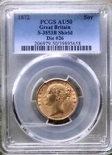 1872 Gold Sovereign Coin, PCGS Graded AU50, Queen Victoria Young Head Shield.