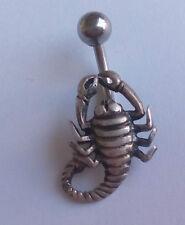 Magnifico piercing de ombligo, escorpiòn  plata de ley. 925