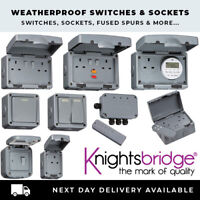 KNIGHTSBRIDGE OUTDOOR WATERPROOF IP65 SOCKETS SWITCHES 1 & 2 GANG + ACCESSORIES