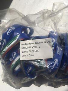 Mexico BRASIL ~ 60 FIFA World Cup Soccer Flexible Wrist Bracelets New! Bud Light