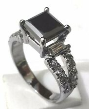 2.39 Ct. Certified Princess Cut African Black Diamond Engagement Rings~33