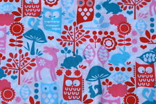 FOREST LIFE OWLS DEER ANIMALS PINK AQUA KIDS QUILTING FABRIC MICHAEL MILLER FQ