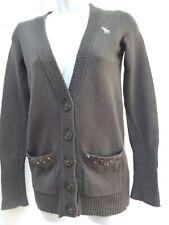 vtg Abercrombie cardigan sweater M varsity grandpa longer v-neck sequin pockets