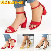 Summer Women Casual Block Heel Sandals Open Toe Ankle Strap Shoes Size 36-42