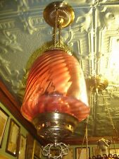 Antique Cranberry Opalescent Barber Swirl Hall Light.    7436a