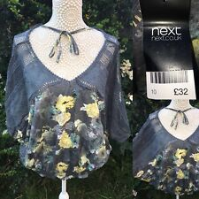 NEXT Size 10 Stunning Grey Floral Summer Lace Top Batwing Sleeve RRP £32 BNWT