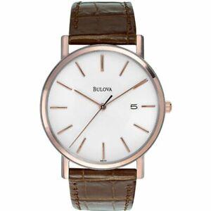 Bulova Men's Brown Leather Strap White Dial Date Dress Watch 98H51