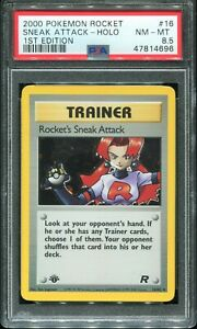 PSA 8.5 2000 Rocket Sneak Attack HOLO First 1st Edition Trainer #16