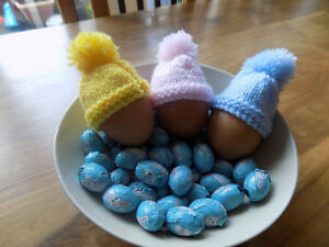3 x Hand Knit Easter Egg Hats / Boiled Egg Hats