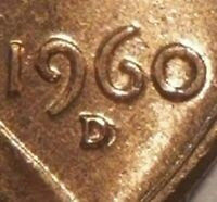 1960-D Lincoln Cent, Red Uncirculated, BU, RPM-23, D/D Repunched Mint Mark