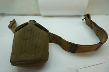 VINTAGE ARMY CANTEEN WWII 1945 COVER AND WEB BELT MILITARY ALUMINUM FLASK US