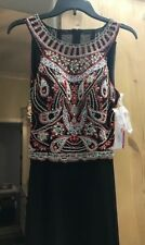 Beaded Formal Dress Long Evening Ball Party Pageant Prom Dress Size 10 BLACK NWT