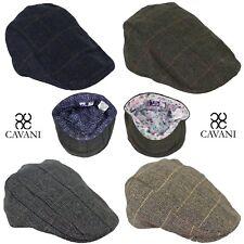 Mens Quality Cavani Herringbone Tweed Peaky Blinders Flat Cap Newsboy Lined Hat